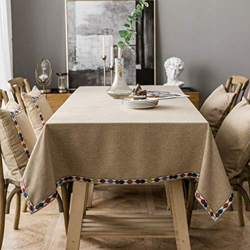 Pahajim Mantel de lino de algodón vintage Mantel rectangular a prueba de polvo Mantel bordado con borlas para la cocina (marrón...