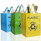 aoory – Lote de 3 bolsas reutilizables de reciclaje con asas separadoras de residuos para Tri Selectivo de papel plástico y cristal