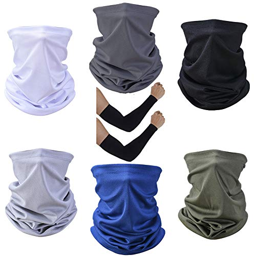 Cooling Neck Gaiter,Breathable Bandana Face Mask for Summer Heat,Reusable Buff Face Cover Scarf,Light Weight Balaclava for Men Women Fishing Outdoor Sports Hiking Running Motorcycle (6) Black