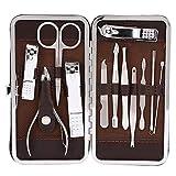 12pcs/Set Set de manicura Cuidado personal, cortaúñas de acero inoxidable Tenedor de piel muerta Raspador de uñas Juego de herramientas de manicura para viajes u hogar