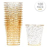 100 Vasos de Chupito Desechables de Plástico Duro con Elegante Brillo Dorado, 2oz(60ml) - Reutilizable, Material Ecológico - Vasos para Shots para Chupitos Vodka Jelly Bodas Fiestas de Navidad.