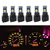 WLJH T5 LED Light Bulb PC74 37 3-3030SMD Canbus Error Free Instrument Cluster Panel Dash Lights with Twist Socket(6 Pack,Yellow)