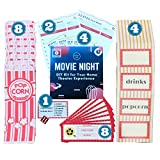 Deluxe Movie Night Décor DIY Kit - Concession Stand Decorations, Movie Tickets, Popcorn Bags, Trivia Cards and More (28 piece)
