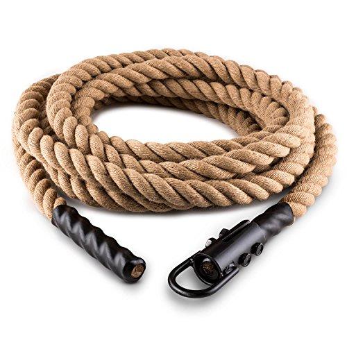 Klarfit Power Rope - Fune con Ganci per Rope, Cardio Training, Cross-Training, 9 m, Diametro 3,8, Canapa