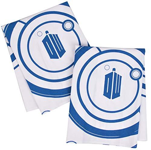 Juego de 2 toallas de cocina para colgar en la puerta del horno, perfectas toallas de mano, logo de Dr. Who Tardis y diseño Gallifreyan, tamaño 45,7 x 60,9 cm