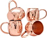 AVS STORE Hammered Copper Barrel Mug for Moscow Mules Set Of-4