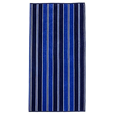 Superior Luxurious 100% Cotton Beach Towels, Oversized 34  x 64 , Soft Velour Cotton and Absorbent Cotton Terry, Thick and Plush Striped Beach Towels - Aqua Stripes