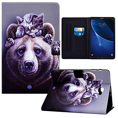 RASUNE Galaxy Tab A 10.1 Case, PU Leather Card Slot with Auto Sleep/Wake Feature Multiple Viewing Stand Case for Samsung Galaxy Tab A 10.1' SM-T580/T585 (2016 Release NO S Pen Version) -Bear Cat
