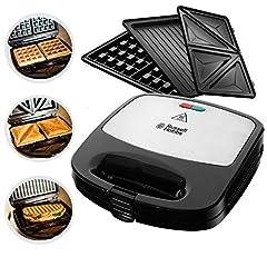 Russell Hobbs Multifonctions 3-en-1 Fiesta (Sandwich Maker, Gaufres, Kontaktgrill), plateaux de lave-vaisselle et plaques anti-adhésives (extensible : Cake Pop, Mini Beiut, Churros) 24540-56