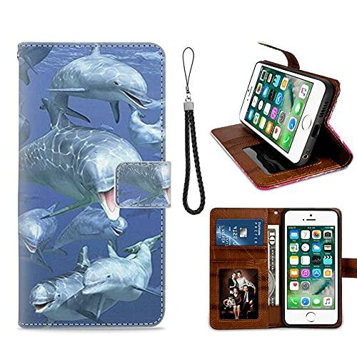 xtlxr Funda tipo cartera para iPhone 6 Plus (6+) iPhone 6S Plus (6S+) con ranura para tarjeta de crédito de cuero con diseño de delfín, correa de muñeca con hebilla magnética para niña y mujer