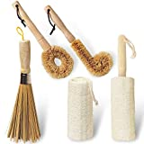 5 in 1 Multi Function Household Dish Cleaning Scrub Brush Set,Natural Bamboo Loofah Dishwashing Brush,(Wooden Handle,Can be hung,Durable)-for Cleaning Pans Pots Dishes Bowl Cups