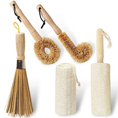 Cepillo de limpieza de cocina con mango de bambú, juego de 5 para botellas, sartenes de verduras, lufa natural y fibras de coco, mango largo