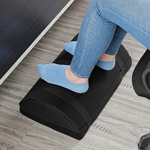 Footrest for Under Desk with Non-Slip Massaging Micro Beads Base Firm Foam Half-Cylinder Ergonomic Height Adjustable Footstool for Home Office Desk...