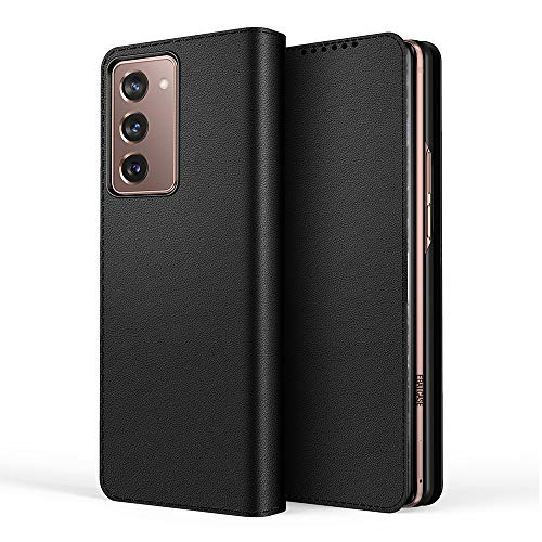 Samsung Galaxy Z Fold 2 5G Hülle [Brieftasche] [Klammerfunktion] [Split Folding Ledertasche] Kompatibel mit Samsung Galaxy Z Fold 2 5G Smartphone(Schwarz)