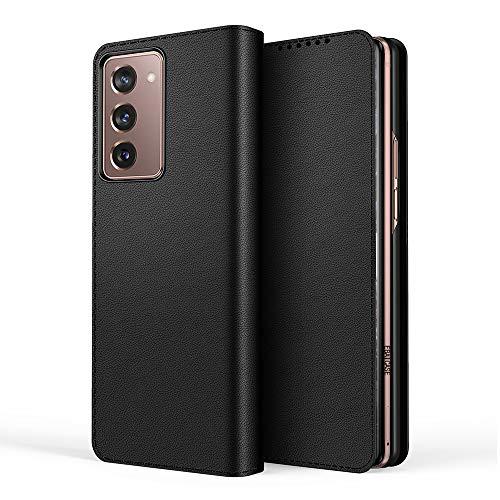 BellaCase Funda Samsung Galaxy Z Fold 2 5G [Pata de Cabra] [Ranuras para Tarjetas] [Estuche de Cuero Plegable Dividido] Compatible con el teléfono Inteligente Samsung Galaxy Z Fold 2 5G(Negro)