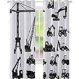 YUAZHOQI Cortina de ventana de construcción con siluetas negras para hormigón, conjunto industrial, para camiones, tractores, cortinas elegantes para sala de estar, 132 x 274 cm, color negro y blanco