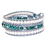 KELITCH Näturlich Kristall Muschelperle Perlen Mix Weben 3 Wicklen Armband Handmade Mode Damen Schmuck (Weiß Grün)