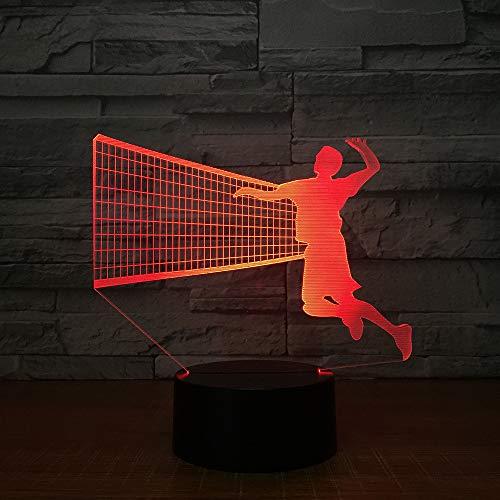 Het volleyball 3D-nachtlampje voor mannen verlicht in 7 gekleurde lednachtlampjes, de kinderen raken de led-tafellamp met usb aan en de slaaplamp van de baby.