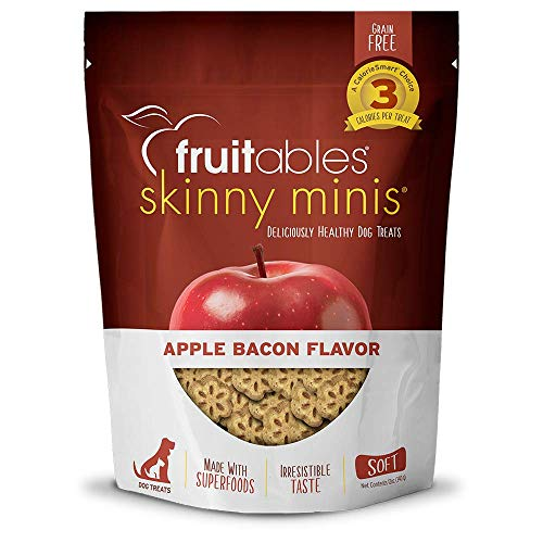Fruitables Skinny Minis Soft Low Calorie Training Treats for Dogs | Apple Bacon Flavor| 12 Ounces