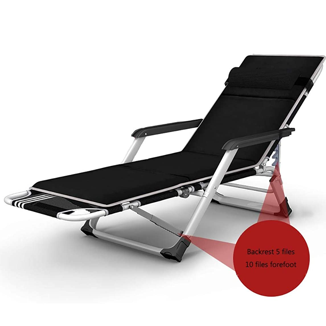 QYJ-Chairs Lounges Reclining Garden Sun Lounger with Headrest, Office Lunch Break Siesta Bed, Portable Outdoor Folding Chair Beach Holiday Camping, Load 200kg (Color : B)