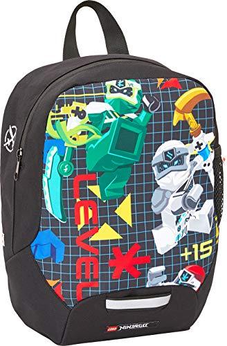 Lego Bags Kindergarten Rucksack, Leichter Kinderrucksack, Vorschulrucksack Lego NINJAGO Prime Empire, Kita Rucksack in Schwarz, großes Hauptfach und Mesh Seitentasche, mit Brustgurt und Namensschild