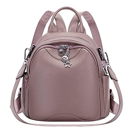 ALTOSY Mini Rucksack Damen Klein Echtes Leder Rucksäcke Mode Uni Daypack Schultertasche (S97, Mauve)