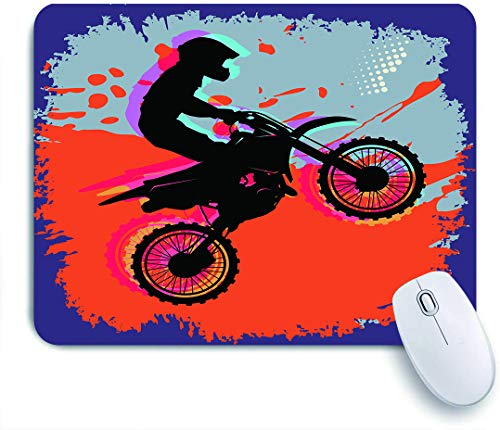 SUHOM Gaming Mouse Pad Rutschfeste Gummibasis,Grunge-Komposition eines Bikers in einem Stunt-Move-Cross-Country-Turnier,für Computer Laptop Office Desk,240 x 200mm