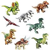 AMeu01 8 Dinosaures, Dinosaur du Monde Jurassique, Jouet de Construction, Absolument écologique, Sûr et fiable, Hauteur...