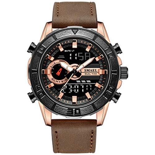 AYDQC Reloj de la Correa de Reloj de Deportes al Aire Libre a Prueba de Agua multifunción de Cuero Reloj electrónico de los Hombres fengong (Color : B)