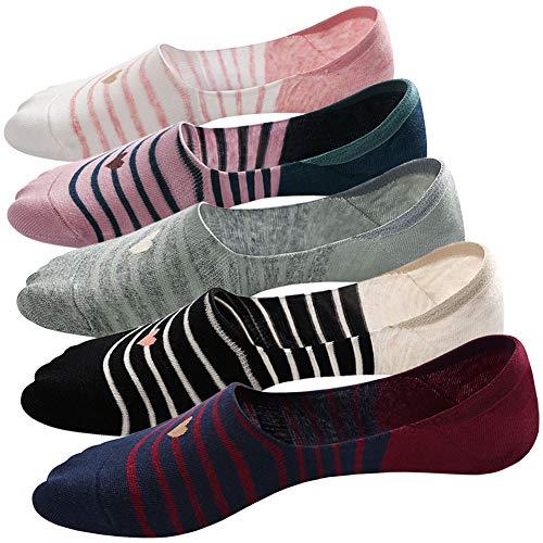 Damen Unsichtbare Sneaker Socken Damen Füßlinge aus Baumwolle kurze Socken mit Rutschfestem Silikon, 5 Paare
