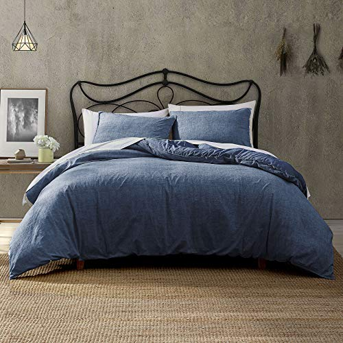Brielle Callan 100% Cotton Texture Printed Comforter Set, Denim, Full/Queen