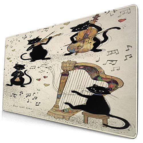 PANILUR Alfombrilla Gaming,Arte Musical,Gato Negro Tocando El Piano,Arpa,Violonchelo,Violín,con Base de Goma Antideslizante,750×400×3mm