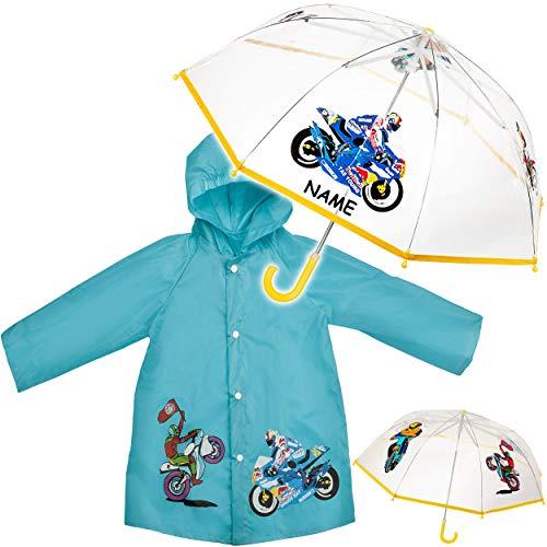 alles-meine.de GmbH 2 TLG. Set: Regenschirm + Regenjacke - Motorrad & Bike - inkl. Name - Kinderschirm - Ø 78 cm - durchsichtig & durchscheinend - transparent - Regencape - Kinde..
