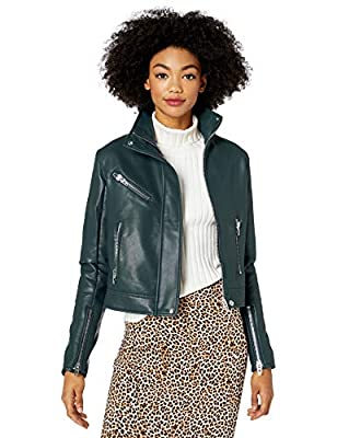 [BLANKNYC] Women's HIGH COLLAR VEGAN LEATHER MOTO JACKET Outerwear, -Sky Walker, L