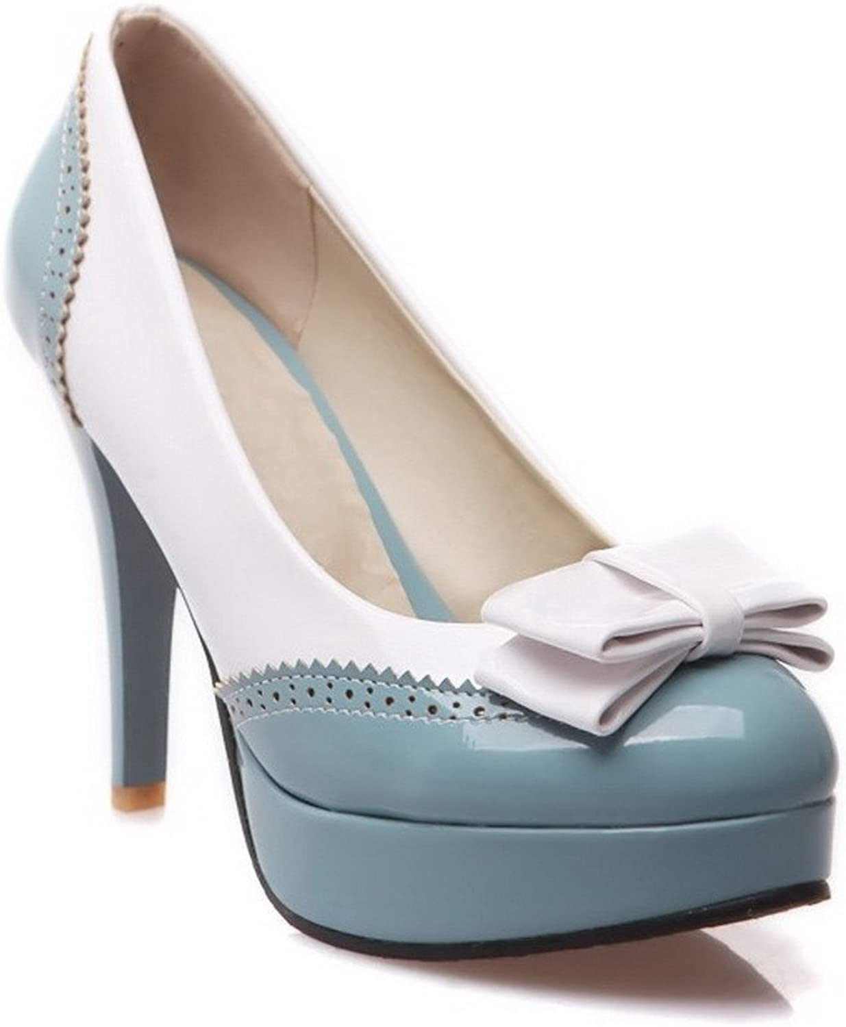 WeenFashion Women's Pull-on High-Heels PU Dichromatic Round Closed Toe Pumps-shoes