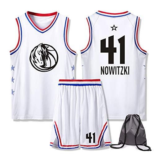 Dallas Mavericks # 41 Dirk Werner Nowitzki Basketball Swingman Trikotset, Herren-Basketball-Jersey-Klagen für Workout Lauf Gym Sportwear mit Tasche XXS