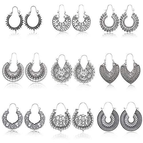 Milacolato 9 pares Flor de Mandala Vintage Pendientes Colgantes para Mujer Bohemian Boho Hoop Earring