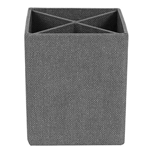 Bigso Penny Pencil Cup with Divider, Canvas Paper Laminate, 3.4 by 3.4 by 3.9 Inches, Grey