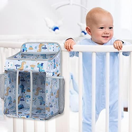 Bolsa colgante para cuna, organizador multifuncional para colgar pañales, organizador de cambio de pañales, cochecito de bebé, mantiene todos los elementos esenciales del bebé al alcance de tu mano