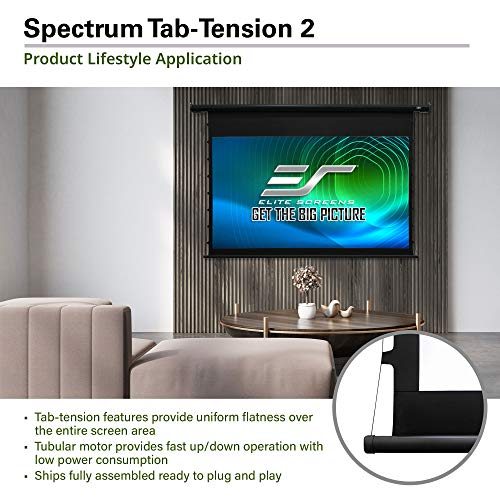 Elite Screens Spectrum Tab-Tension, 100-inch 16:9, 4K Tensioned Electric Motorized Projection Projector Screen, ELECTRIC100HT