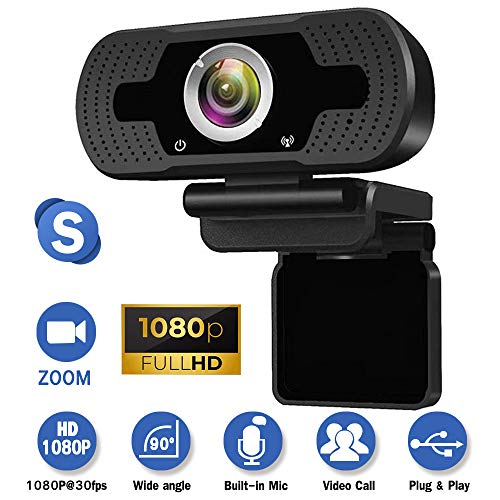 Webcam with Microphone for Desktop,1080P HD USB Live Streaming Laptop Computer PC Webcam for Video Calling Conferencing Recording Gaming, AutoFocus 3D Noise Reduction (Black)