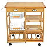 ZENTSTYLE 4-Tier Rolling Kitchen Island Trolley Utility Wood Kitchen Storage Cart Microwave Cart w/Towel Rack, Drawers, Shelves, 6 Bottle Wine Rack