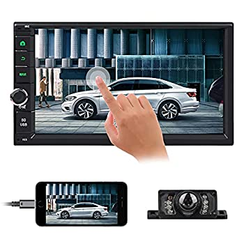 EinCar Car Radio Touchscreen Double Din Car Stereo with Backup Camera Bluetooth 7 Inch Android 10 FM Radio Multimedia Audio Receiver 1G+16G USB SD Port GPS Navigation Support Steering Wheel Control