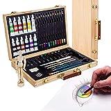 Artina Leonardo - Set de pintura (45 pzas.) - Maletín con colores acrílicos, lápices, Pinceles, Pasteles y maniquí