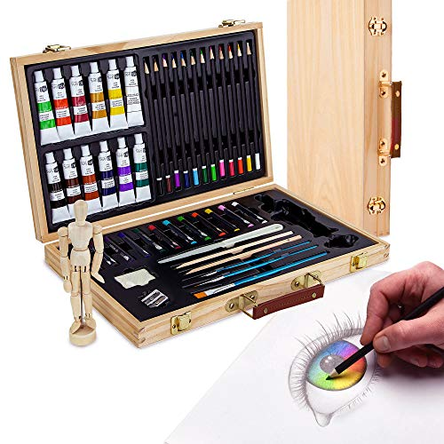 Artina Leonardo - Set de pintura (45 pzas.) - Maletín con colores...