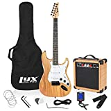 LyxPro Electric Guitar 39' inch Full Beginner Starter kit Full Size with 20w Amp, Package Includes All Accessories, Digital Tuner, Strings, Picks, Tremolo Bar, Shoulder Strap, and Case Bag - Natural