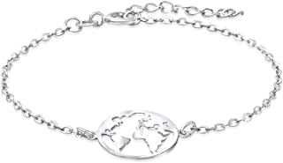 Pulsera Mundo para Mujer Joven, Chica Joven en Plata de Ley 925, Pulsera Mapamundi, Viajes, Joyas Mujer en Caja de Regalo