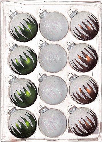 12-delige set glazen bolletjes olijfgroen/kastanje/wit, decor 6 cm NIEUW kerstboomversiering boomversiering