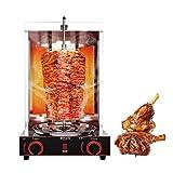 Calefacció de gas Graella del *girocompás de la màquina del kebab, Cremadors d'acer inoxidable 50-300 ℃ *Gyro *Grill per a pollastre, vedella, *shawarma de gall dindi, pastís de papa, barbacoa sense fum