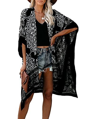 MayBuy Black Boho Kimonos for Women Summer Cardigans Plus Size Beach Swimsuit Cover Ups